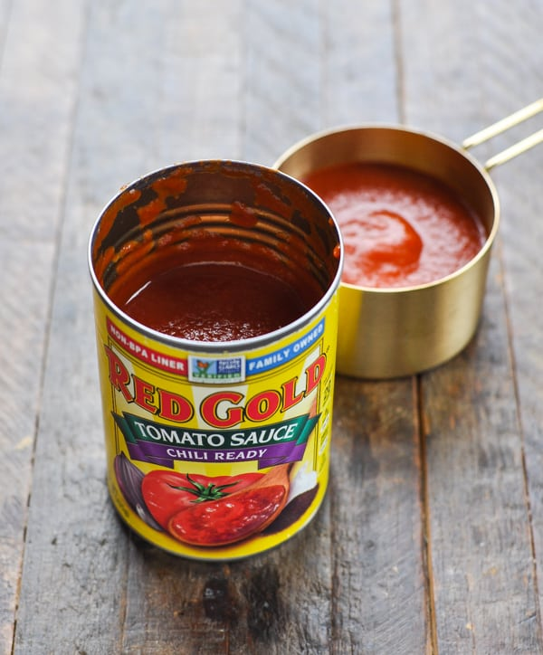 Can of Red Gold Tomatoes chili ready tomato sauce