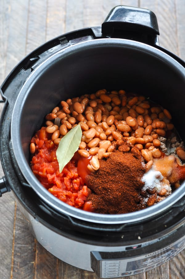 Ingredients for turkey chili in the instant pot