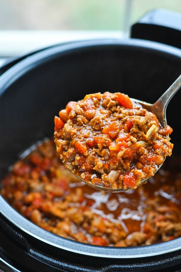 Lade full of Instant Pot Turkey Chili