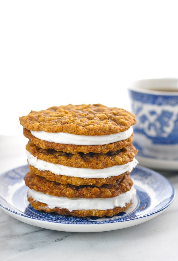 Tall stack of homemade oatmeal cream pies