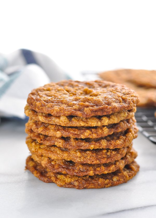 Stack of cookies used to make homemade oatmeal creme pies