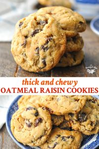 Long collage of Oatmeal Raisin Cookies recipe