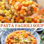Long collage image of Pasta Fagioli Soup