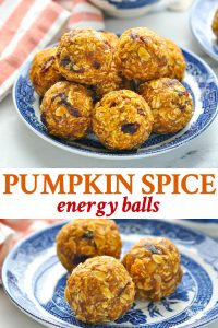 Long collage image of pumpkin spice energy balls