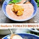 Long collage image of Tomato Bisque