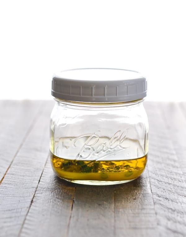 Citrus vinaigrette dressing in a mason jar