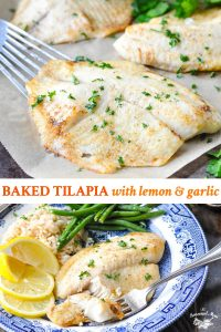 Long collage image of Baked Tilapia with lemon and garlic