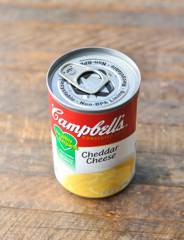 Can of condensed cheddar cheese soup