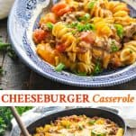 Long collage image of Cheeseburger Casserole