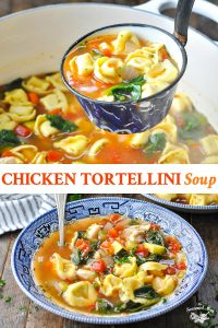 Long collage of Chicken Tortellini Soup