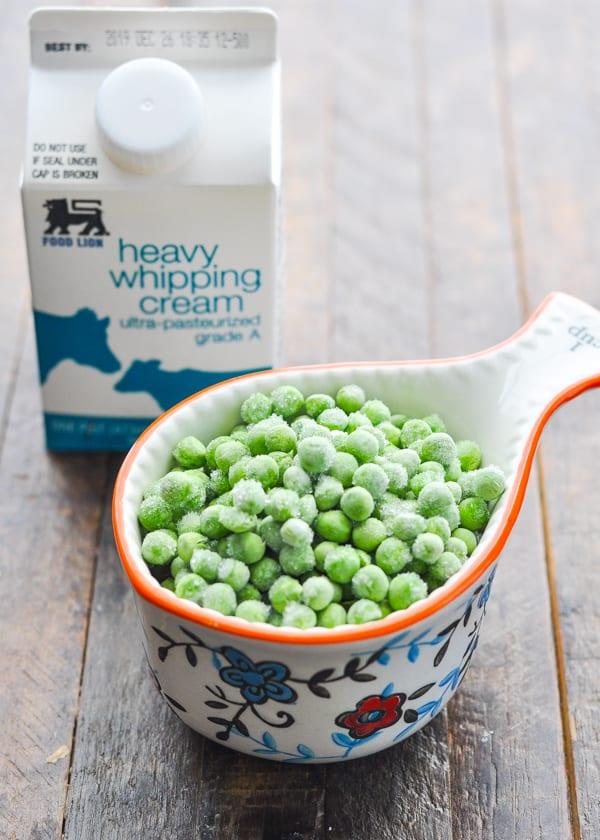Frozen peas and heavy cream for chicken pot pie
