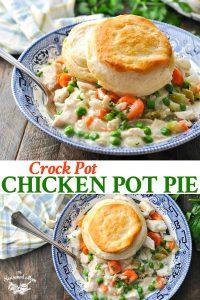 Long collage image of Crock Pot Chicken Pot Pie