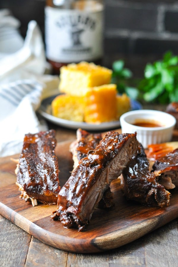 Front shot of cut up Crock Pot ribs on a cutting board
