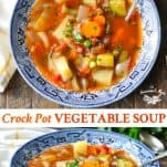 Long collage image of Crock Pot Vegetable Soup