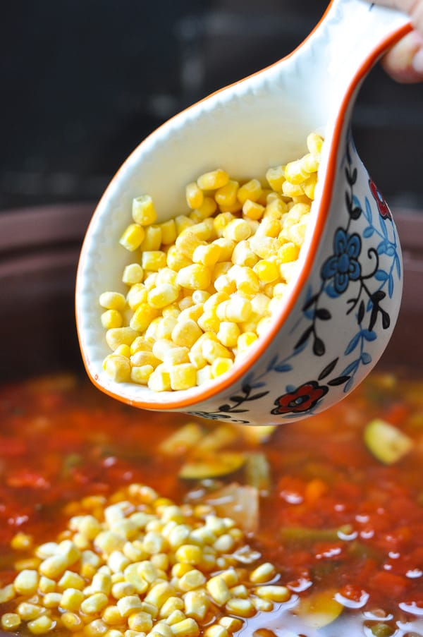 Adding frozen corn to vegetable soup in a Crock Pot