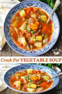Long collage image of Crock Pot Vegetable Soup