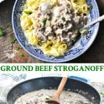 Long collage of Ground Beef Stroganoff
