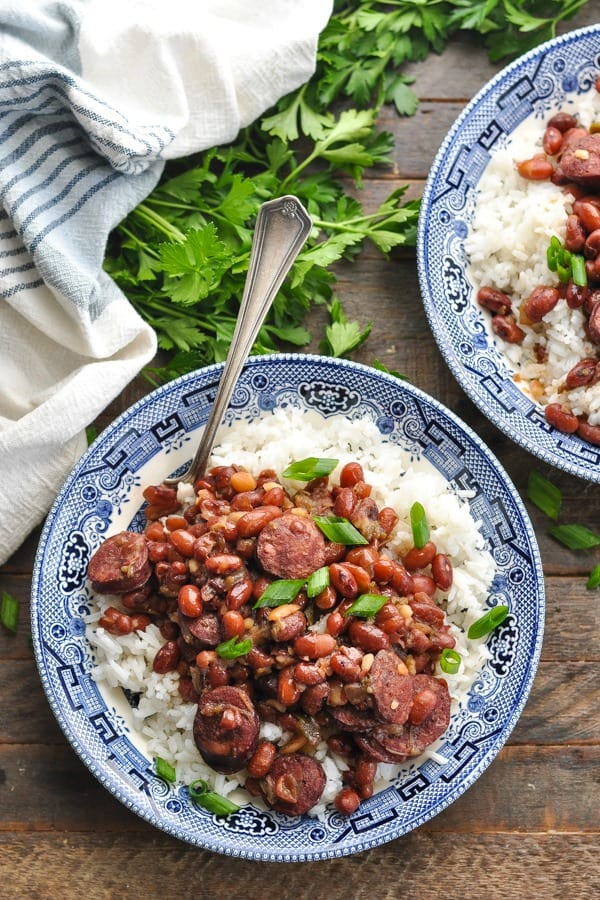 Close overhead shot of a bowl of Instant Pot Red Beans and Rice