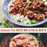 Long collage image of Instant Pot Red Beans and Rice