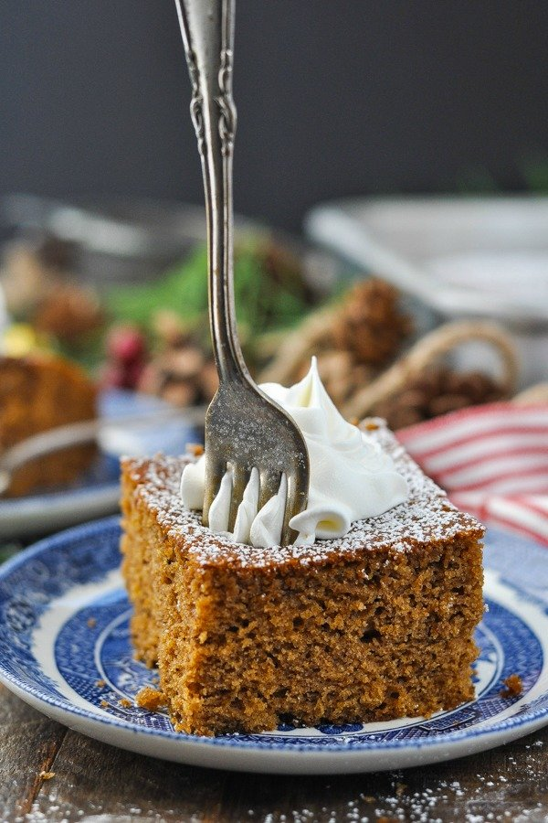 Fork digging into a slice of gingerbread