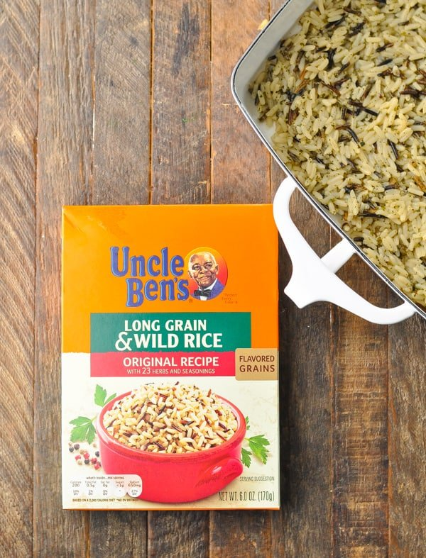 Box of Uncle Ben's Wild Rice for chicken casserole recipe