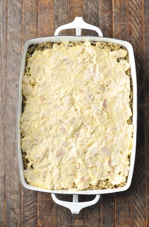 Prep shot of chicken and wild rice casserole