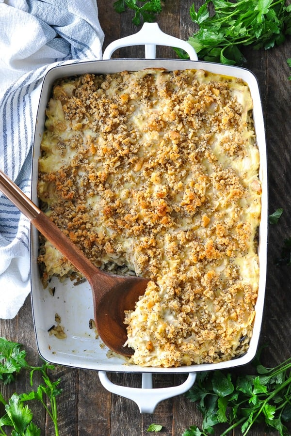 Overhead shot of white casserole dish with Chicken and Wild Rice Casserole