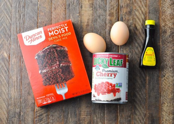 Ingredients for chocolate cherry cake with a cake mix