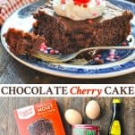 Long collage of Chocolate Cherry Cake