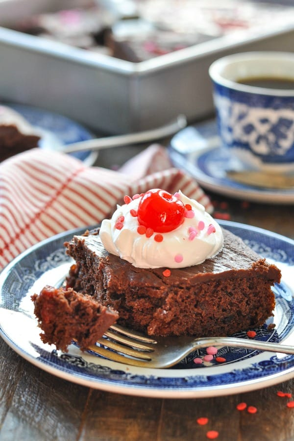 Front shot of a piece of chocolate cherry cake on a blue and white plate