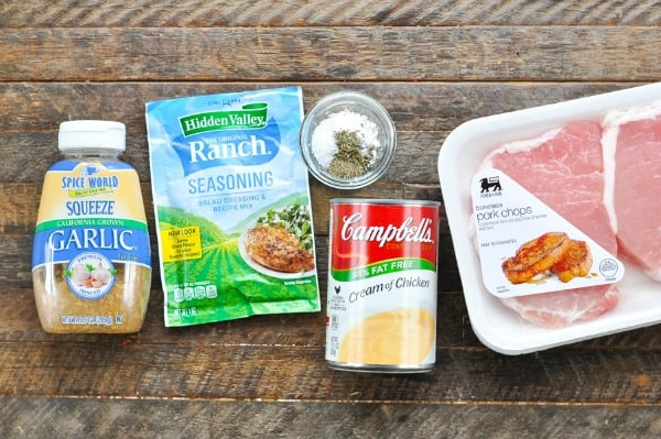 Ingredients for Crock Pot Ranch Pork Chops
