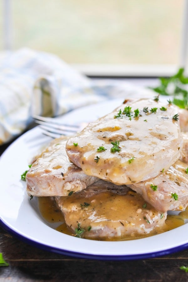 Front shot of crock pot ranch pork chops on a serving tray