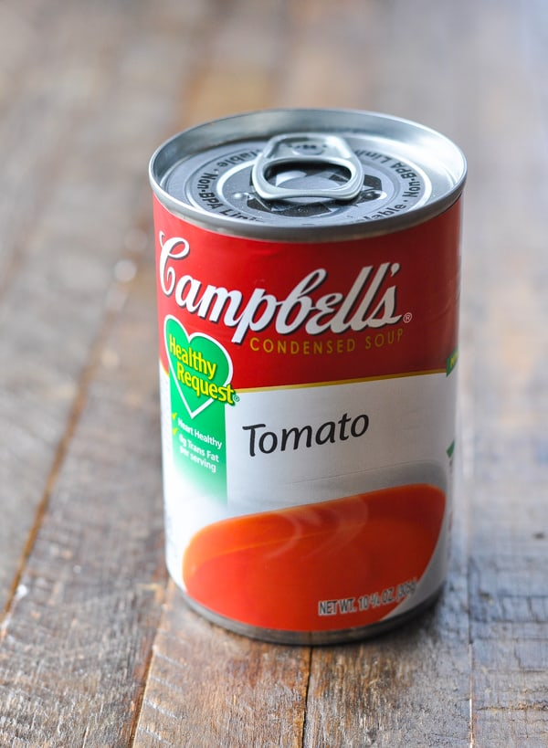Can of campbell's tomato soup for porcupine meatballs
