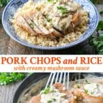 Long collage image of Pork Chops and Rice