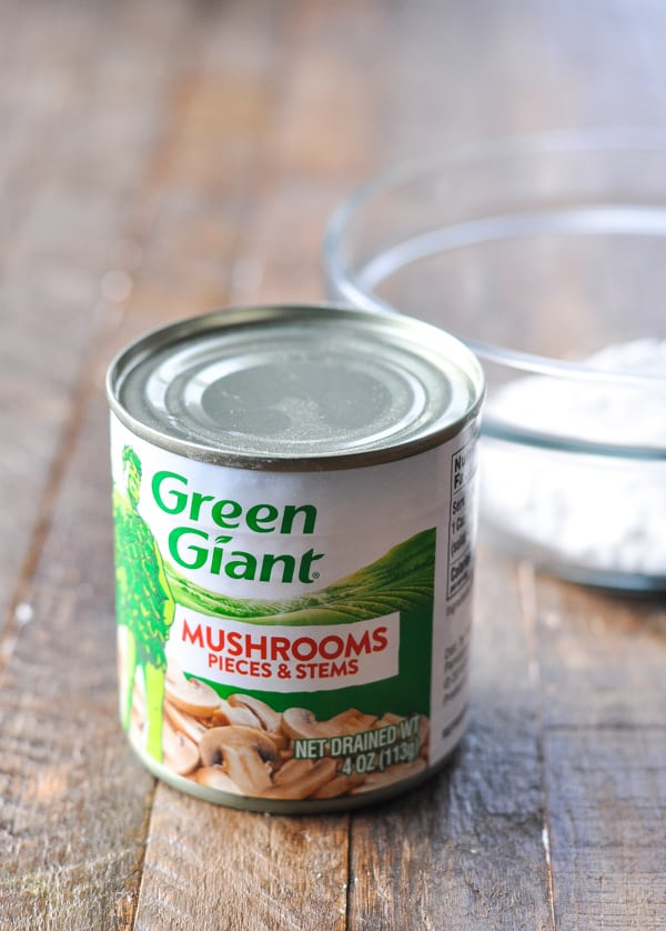 Can of mushrooms for pork chop and rice sauce