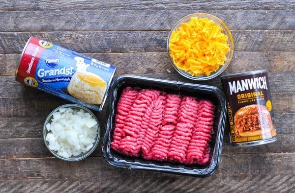 Ingredients for sloppy joe casserole