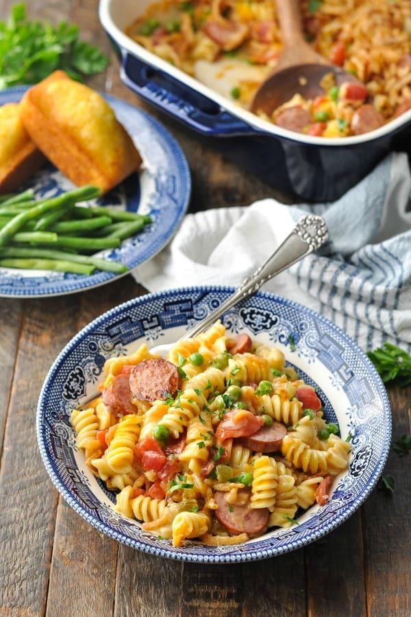 Bowl of pasta casserole with smoked sausage