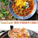 Long collage image of Southern Chili Recipe