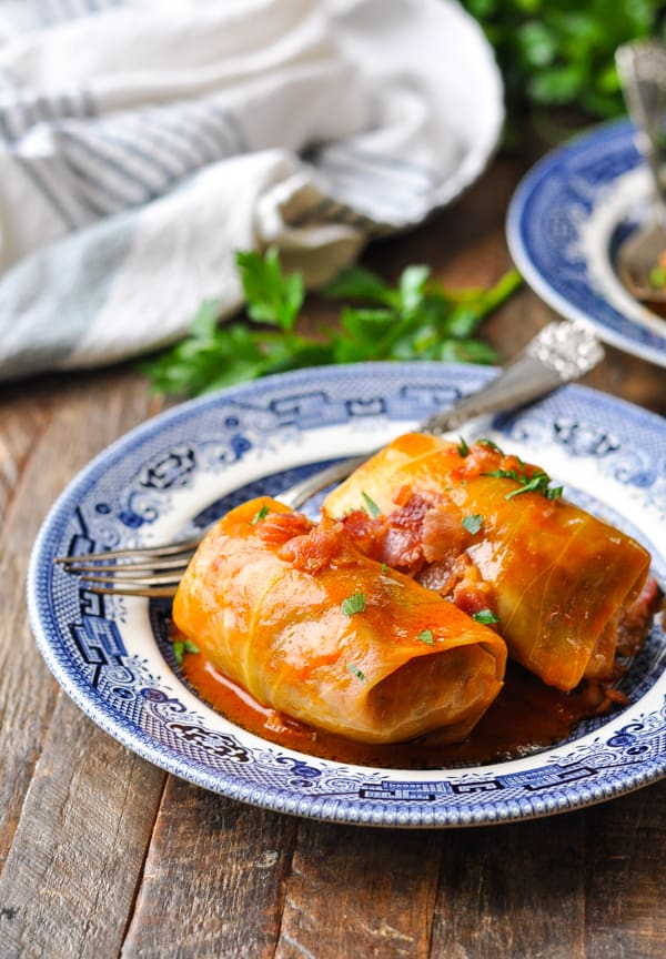 Front shot of stuffed cabbage rolls on plates