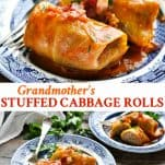 Long collage image of Stuffed Cabbage Rolls