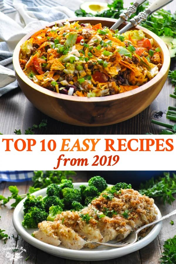 Long collage image of Top 10 Easy Recipes from 2019