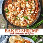 Long collage of Baked Shrimp with Tomatoes and Feta