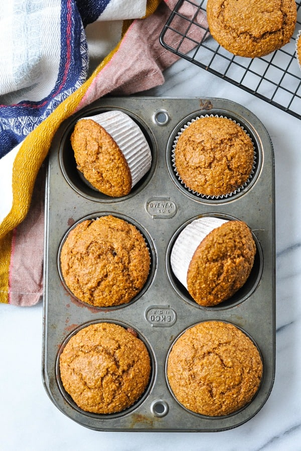 Overhead shot of bran muffins in a muffin tin
