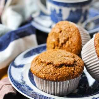 Front shot of a plate of bran muffins