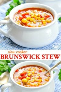 Long collage image of Brunswick Stew recipe for the Crock Pot