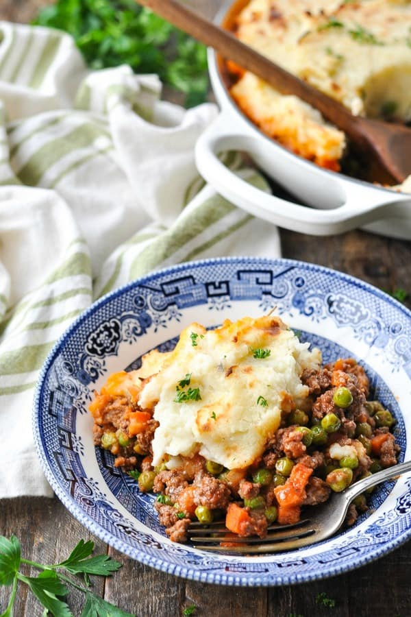 Close up front shot of a bowl of Irish cottage pie
