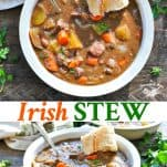 Long collage image of Irish Stew