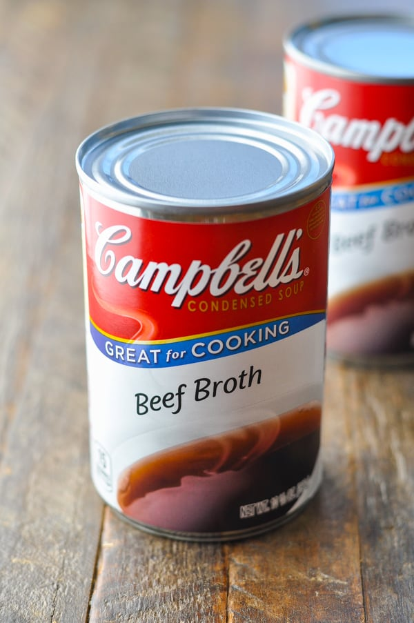 Two cans of condensed beef broth