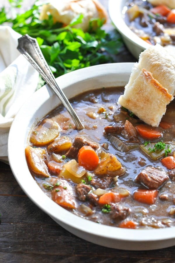 Close up front shot of Irish Stew for the slow cooker or stovetop served in a white bowl