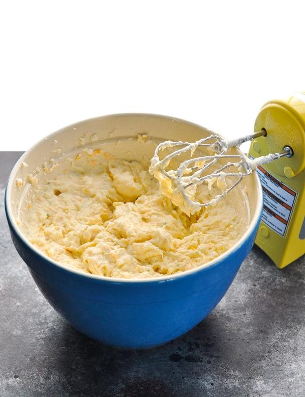 Process shot of making party potatoes